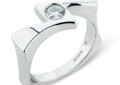 18ct white gold square shank diamond ring