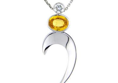 18ct white gold yellow sapphire and diamond pendant