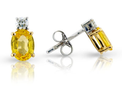 18ct yellow and white gold yellow sapphire and diamond earrings