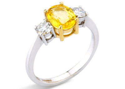 18ct yellow and white gold yellow sapphire and diamond ring