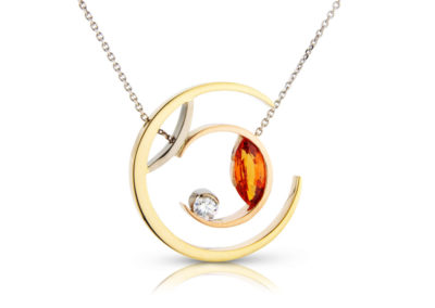 18ct yellow white and rose gold mandarin garnet and diamond necklace