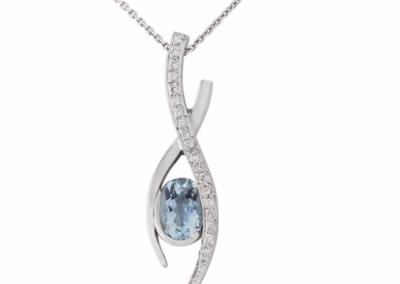 18ct white gold diamond and aquamarine pendant