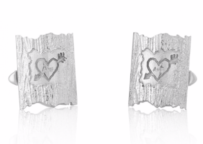 silver carved tree cufflinks