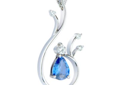 Platinum diamond and sapphire pendant