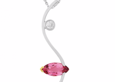 18ct white and rose gold pink spinel and diamond pendant