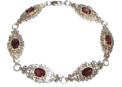 9ct yellow gold garnet bracelet