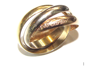 18ct yellow white and rose gold Russian wedding ring
