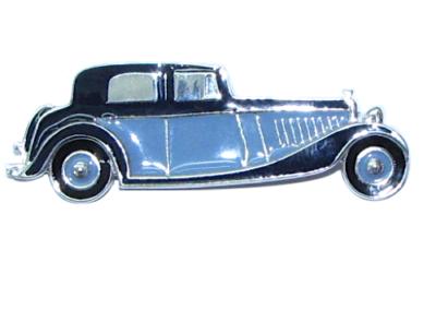 silver enamelled car brooch