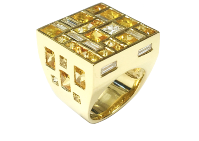 18ct yellow gold yellow sapphire and diamond ring