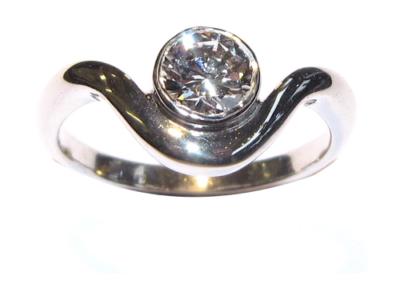 Platinum single stone diamond ring