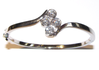 White gold 4 stone diamond bangle