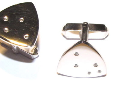 silver and diamond triangle cufflinks