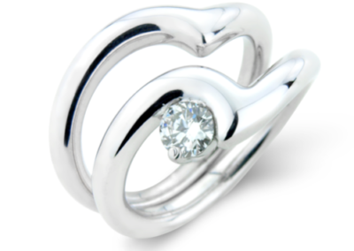 18ct white gold wave engagement and wedding ring set