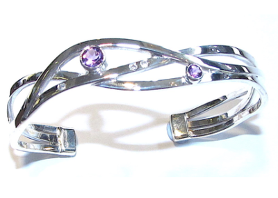 Silver amethyst and diamond torq bangle