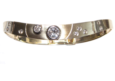 yellow and white gold curved diamond bangle