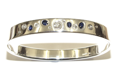 White gold diamond and sapphire bangle