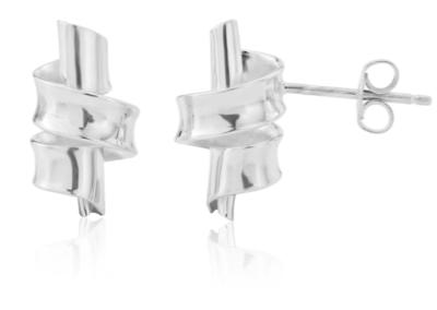 Silver Sarah ribbon stud earrings