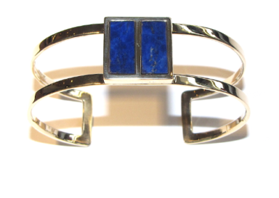 9ct yellow gold lapis lazuli torq bangle