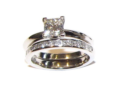 18ct white gold channel set wedding ring