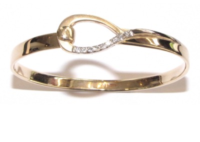 9ct yellow gold diamond tension bangle