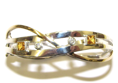 yellow and white gold yellow sapphire and diamond bangle